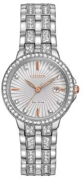 Citizen Silhouette Crystal Stainless Steel Link Bracelet Watch