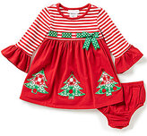 Bonnie Jean Bonnie Baby Baby Girls 12-24 Months Striped/Solid Christmas Tree Appliqued Dress