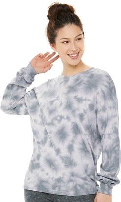 Juniors' SO Oversized Tie-Dyed Long Sleeve Tee