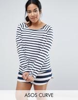 Asos Contrast Stripe Navy Long Sleeve Tee & Short Pajama Set