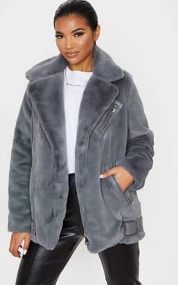 PrettyLittleThing Grey Faux Fur Aviator Jacket
