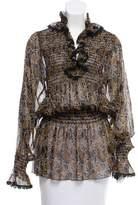 Anna Sui Spiral Print Silk Tunic