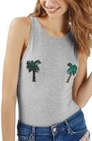 Topshop Women's By Tee & Cake Sequin Palm Tree Bodysuit