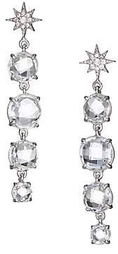 Anzie Women's Aztec North Star Rhodium-Plated, Topaz & Sapphire Drop Earrings