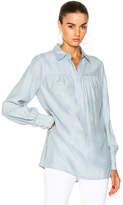 Frame Tunic Silk Blouse in Blue.