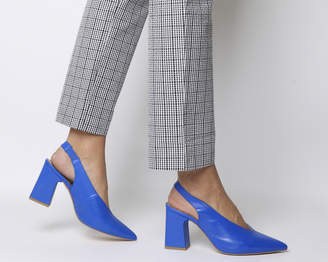 Office Mimi Chunky Slingback Heels Blue Leather