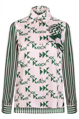 Dice Kayek Monogram Striped Silk Shirt in Emerald Monogram