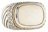 David Yurman White Agate & Diamond Ring
