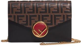 Fendi Logo Calfskin Leather Wallet on a Chain