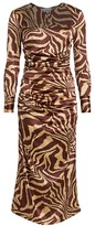 Ganni Zebra Silk Stretch Midi Dress