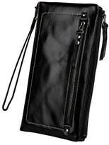 YALUXE Women's Capacity Soft Real Leather Wristlet Wallet Checkbook Passport Holder