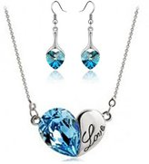 Fancy Jewelry Sets Gift Fancy Love Heart Sky Blue Crystal Set Secret Language Of Love Jewelry Heart Shape Earrings & Necklace