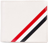 Thom Browne Billfold With Red, White And Blue Diagonal Stripe In White Leather