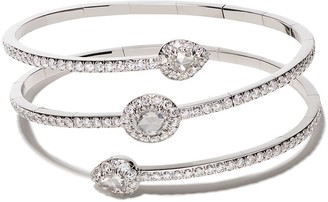 David Morris 18kt white gold Rose Cut Diamond Flexi Wrap bangle