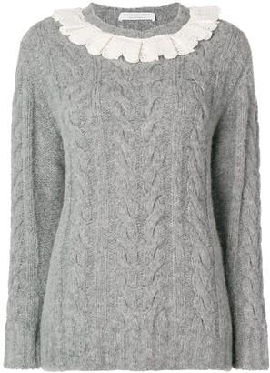 Philosophy di Lorenzo Serafini Frill Trim Cable Knit Sweater