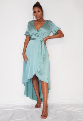 Missguided Sage Satin Flutter Sleeve High Low Midi Dress
