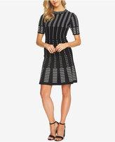 CeCe Jacquard Knit Fit & Flare Dress