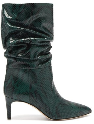 Paris Texas Slouchy Python-effect Leather Ankle Boots - Green Multi