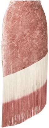 Alexis Sevier velvet-flocked paisley-print fringed skirt