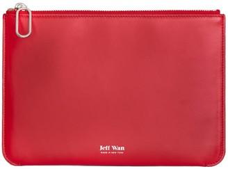 Jeff Wan Leather Zip Clutch Red Port Louis Pouch