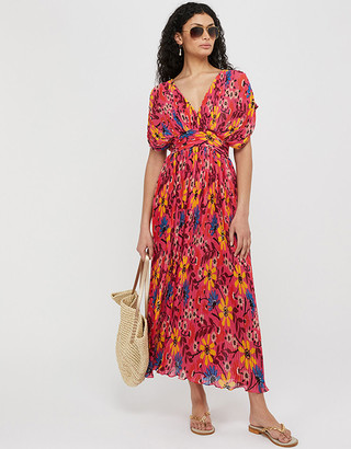 Under Armour Nellie Floral Pleated Kaftan Dress in Recycled Fabrics Pink