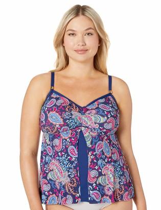 24th & Ocean Women's Plus Size Flyaway Front Tankini Swimsuit Top