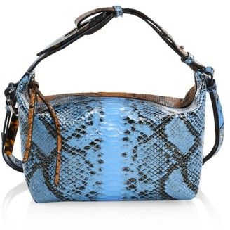 Ganni Colorblock Snakeskin-Embossed Leather Hobo Bag