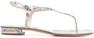 Casadei Snakeskin Effect Flat Sandals