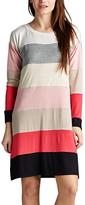 Coral & Black Stripe Long-Sleeve Shift Dress