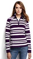 Classic Women's Petite 100 Everyday Fleece Half-zip-Grape Royale Striped