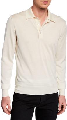 Tom Ford Men's Long-Sleeve Cashmere-Silk Polo Shirt