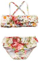 Ralph Lauren Floral-Print Two-Piece Swimsuit, White, 9-24 Months