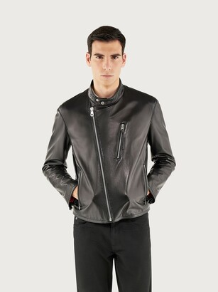 Salvatore Ferragamo Men Nappa biker jacket Black