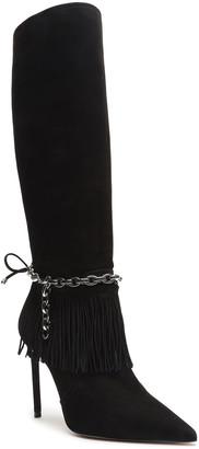 Schutz Vickie Nubuck Fringe Ankle-Chain Stiletto Knee Boots
