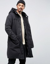 Asos Parka Jacket With Strap Detail In Black
