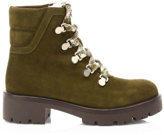 Aquatalia Juliet Shearling-Lined Suede Hiking Boots