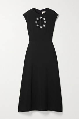 Christopher Kane Cutout Crystal-embellished Crepe Midi Dress - Black