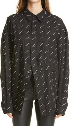 Balenciaga Logo Print Oversize Button Front Blouse