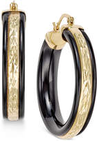 Macy's Onyx Hoop Earrings (26 ct. t.w.) in 14k Gold