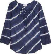 Velvet by Graham & Spencer Tie-dye cotton and silk-blend voile blouse