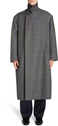 Balenciaga Longline Plaid Flap Coat