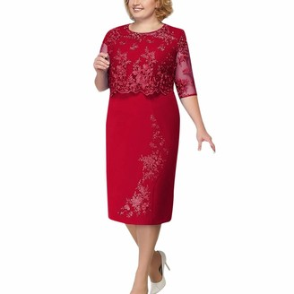 Younthone Women's Plus Size Dress Fake Two Lace Short-Sleeved Shawl Stitching Cocktail Dress Midi Dress Ladies Party Dress Elegant Mother of Bride Dress Knee Length UK 8-22 Gift for Mom Blue