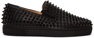Christian Louboutin Black Roller-Boat Slip-On Sneakers