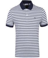 Lacoste Light Grey & Navy Striped Pique Polo Shirt