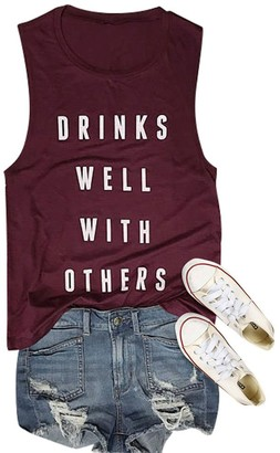 Dresswel Women Vest Tops Drinks Well with Others Letter Print Tank Tops Crew Neck Sleeveless T-Shirt (Wine Red XL)
