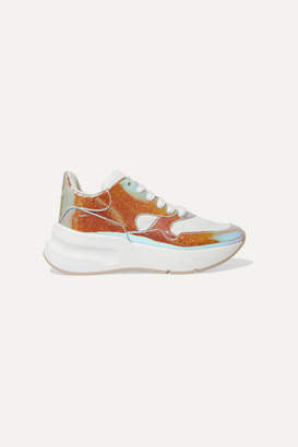 Alexander McQueen Smooth And Iridescent Leather Exaggerated-sole Sneakers - Silver