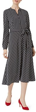 Hobbs London Tarini Striped Tie-Waist Shirt Dress