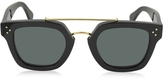 Celine BRIDGE CL 41077/S 807BN Black Acetate Geometric Unisex Sunglasses