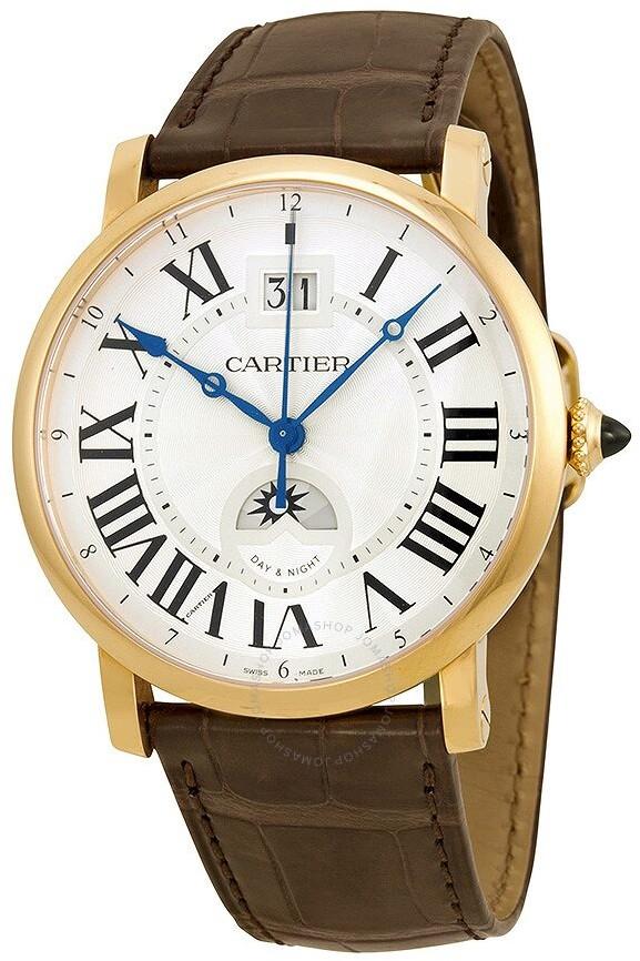 Cartier Rotonde de Large Date Second Time-Zone Automatic 18 kt Rose Gold Men's Watch