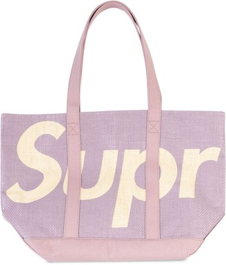 Supreme Logo Raffia Tote Bag